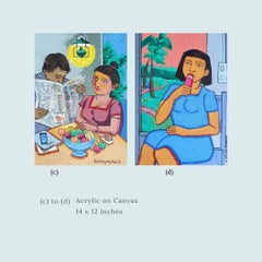 """Morning Newspaper & Girl Eating Acrylic Canvas by Indian Artist """"In Stock"""""""