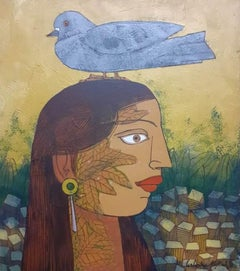 "Pigeon seated on Head of Woman, Acrylic on Canvas, Green,Indian Artist""In Stock"""