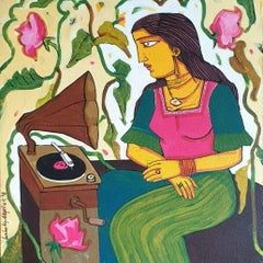"The Gramophone,Green Pink Color,Acrylic on  Canvas by Indian Artist ""In Stock"""