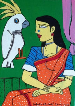 "Woman, Bird, Acrylic on Canvas, Red, Blue, Green by Indian Artist ""In Stock"""