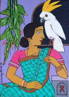 """Woman, Bird, Acrylic on Canvas, Red, Brown, Green, Contemporary Artist""""In Stock"""""""
