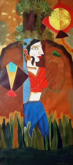 """Woman flying Kites, Acrylic on Canvas, Red, Blue, Green, Brown """"In Stock"""""""
