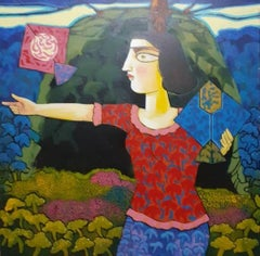 "Woman flying Kites, Acrylic on Canvas, Red, Blue, Green, Indian Artist""In Stock"""