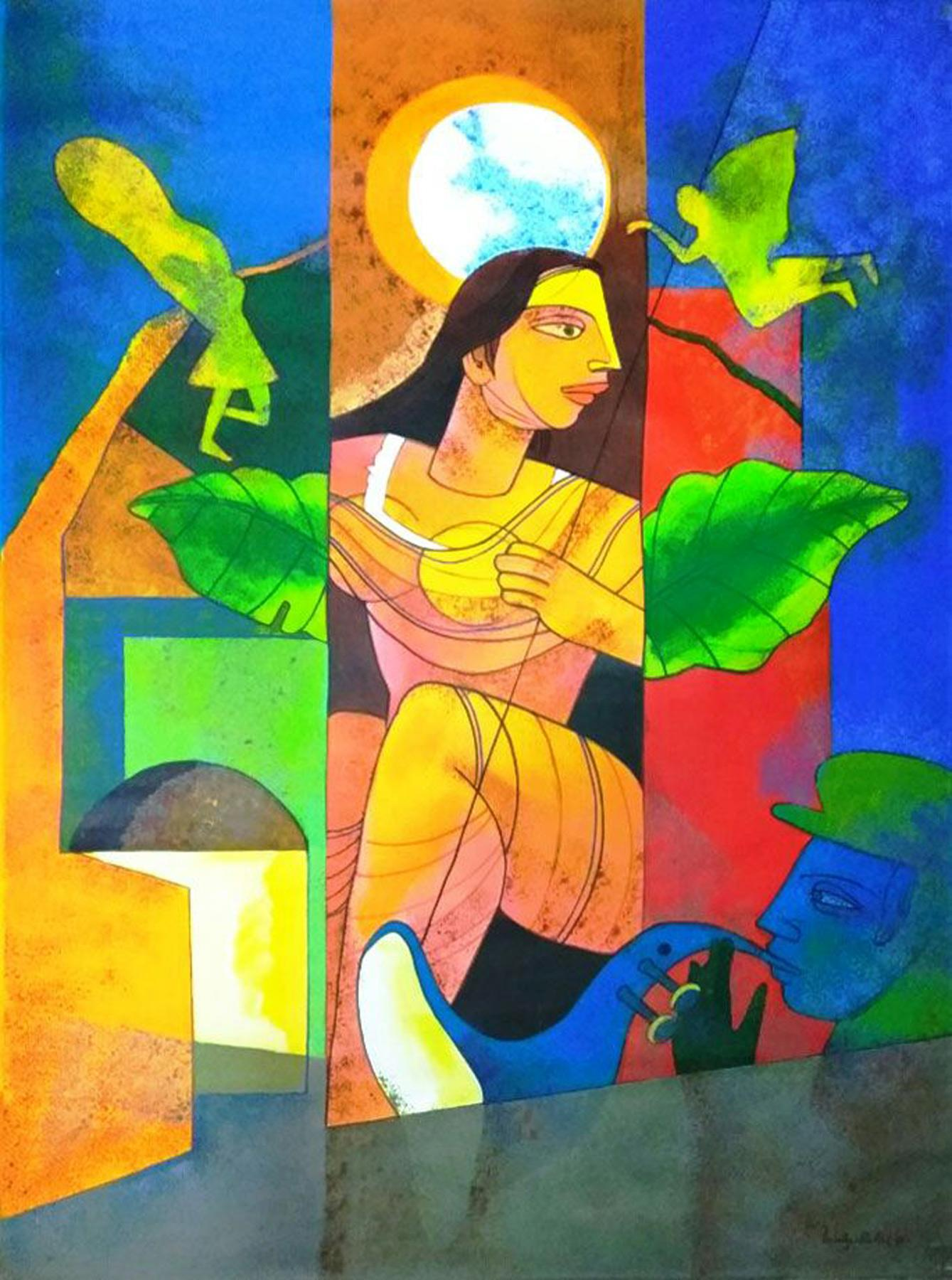 """Woman on the Window, under the Moon, Angels Hovering, Red, Green color""""In Stock"""""""