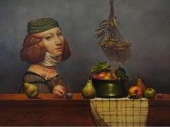 Expectation, Portrait Surrealism, Original oil Painting