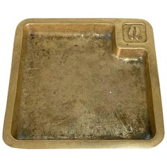 Ashtray or Bowl, Solid Brass for Desk or Table, 1960s, Italy