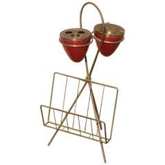 Ashtray Rack Design Italian Geometric Brass Enameled Aluminum Red Gold Color