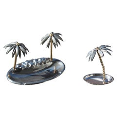 Ashtray with Matchstick Italian Design Silver Plate Palm Trees 1970 Silver Gold