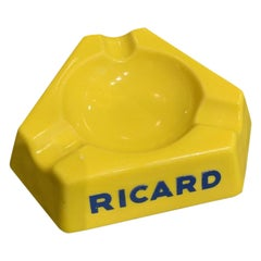 Ashtray Yellow Glass Midcentury France, Ricard