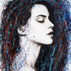 Even Sounds - Portrait Painting, Photorealist, Acrylic Paint, Woman, 21st Cent