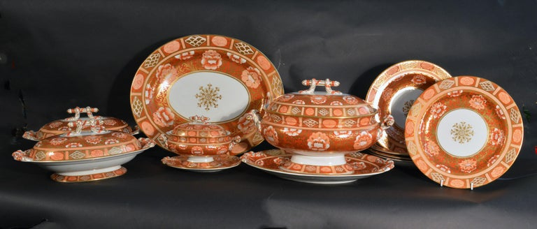 Ashworth Brothers Ironstone dinner service,  circa 1893, Forty-five pieces, Pattern B3369,   The forty-five piece painted Ashworth ironstone burnt-orange floral patterned dinner service has a central gilt rosette surrounded by a wide 'brocade'