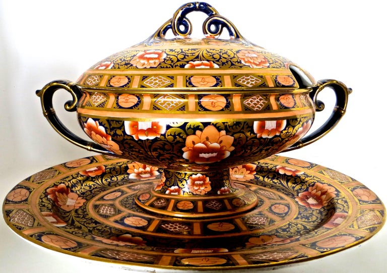This particular ashworth ironstone three-piece tureen ensemble is quite unique because of its interior decoration; and because of its large size; difficult to find either one of these attributes but exceptionally hard to have both the size and the