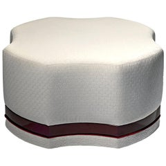 Asia Contemporary Pouff with Lacquer Base and Velvet Trim by Luísa Peixoto