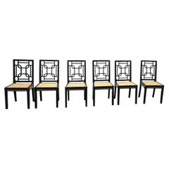 Asian Accents 6 Black Lacquer Wood Canned Chairs by Montina, Italy, 1970's