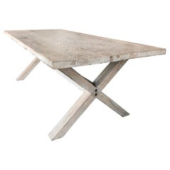 Asian Antique Organic Farm Table in Bleached Poplar Wood, 19th Century