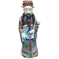 Asian Antique Porcelain and Gold Leaf Immortal Statue