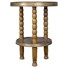 Asian Antique Side Table, Circular Brass Inlaid Tea, Benares, Berber, circa 1900