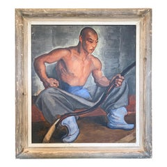 """Asian Archer,"" Art Deco Painting of Asian Youth in Blue and Gray"