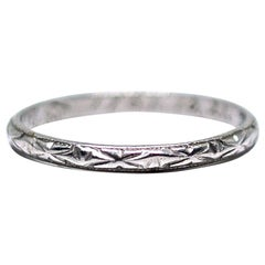 Asian Art Deco Style Platinum Etched Band Writing Engraving Hallmarks