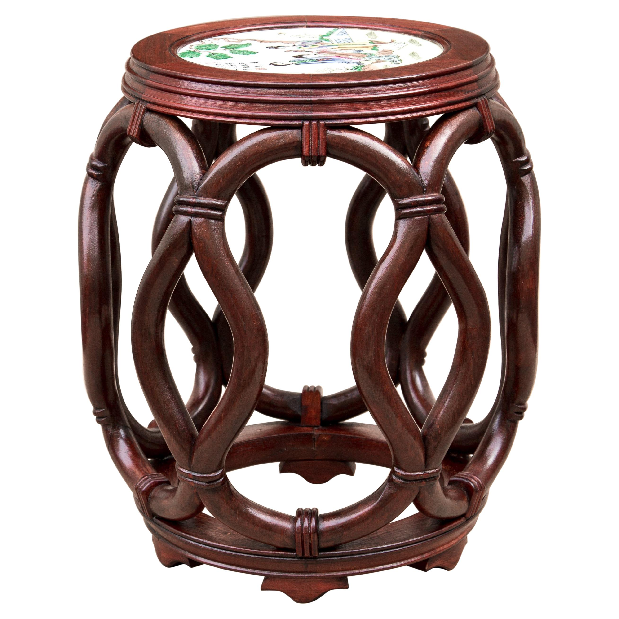 Asian Bentwood Drum Stool or Side Table with White Porcelain Top