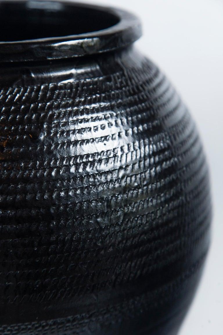 Asian Black Glaze Ceramic Storage Jar, 20th Century In Good Condition In Chappaqua, NY