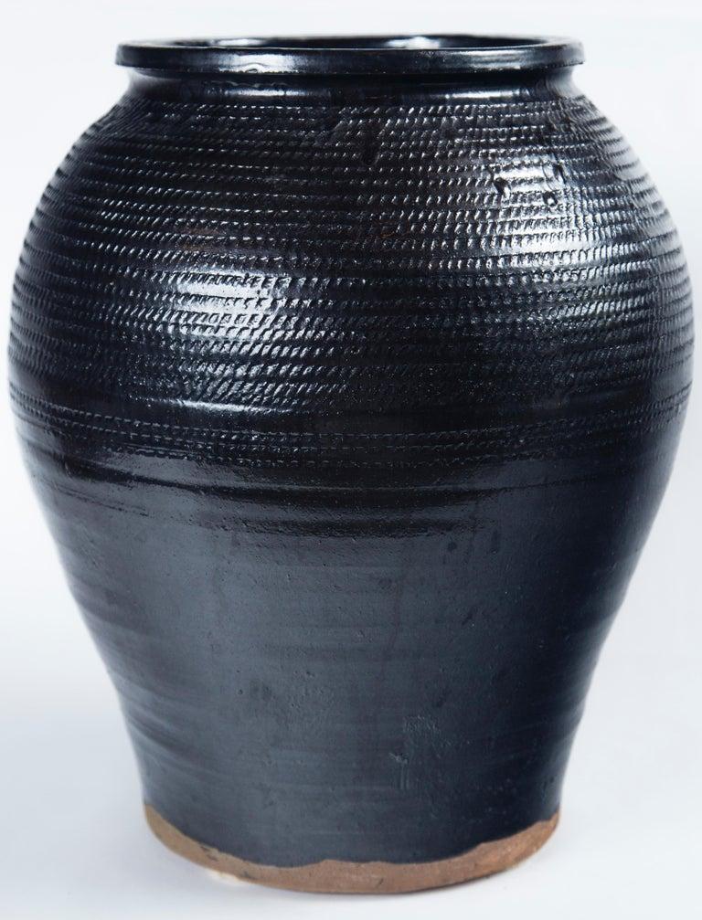 Asian Black Glaze Ceramic Storage Jar, 20th Century 3