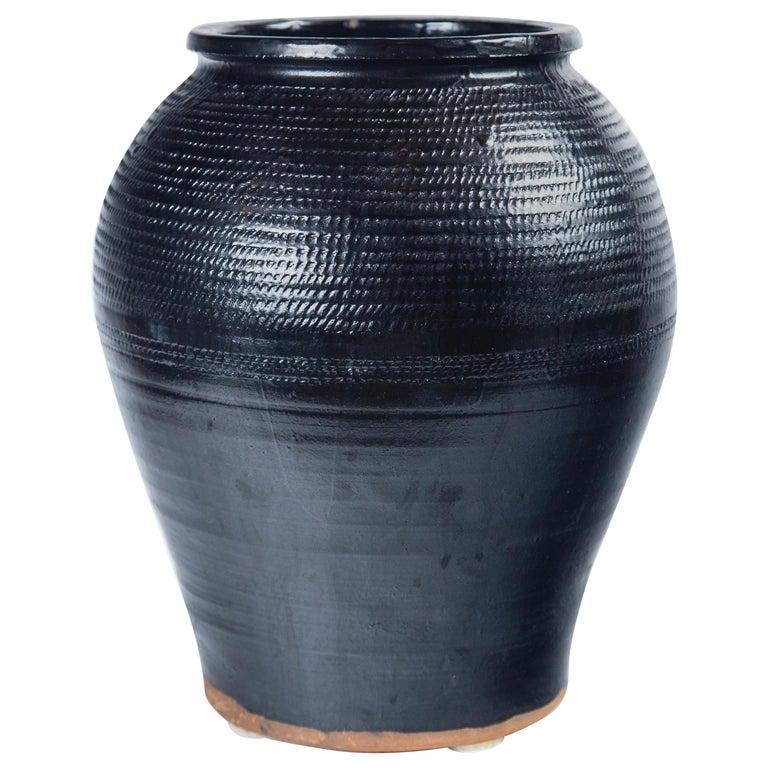 Asian Black Glaze Ceramic Storage Jar, 20th Century