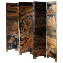 Asian Black Gold Coromandel Lacquered Wooden Screen, Phillippines, 1920
