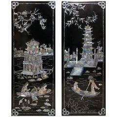 Asiatische Schwarz lackierte Wandtafeln mit Perlmutt, Chinesische Geishas