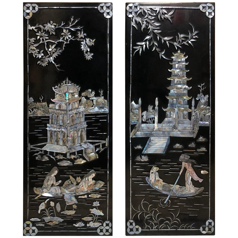 Asian Black Lacquered Mother Of Pearl Small Wall Panels
