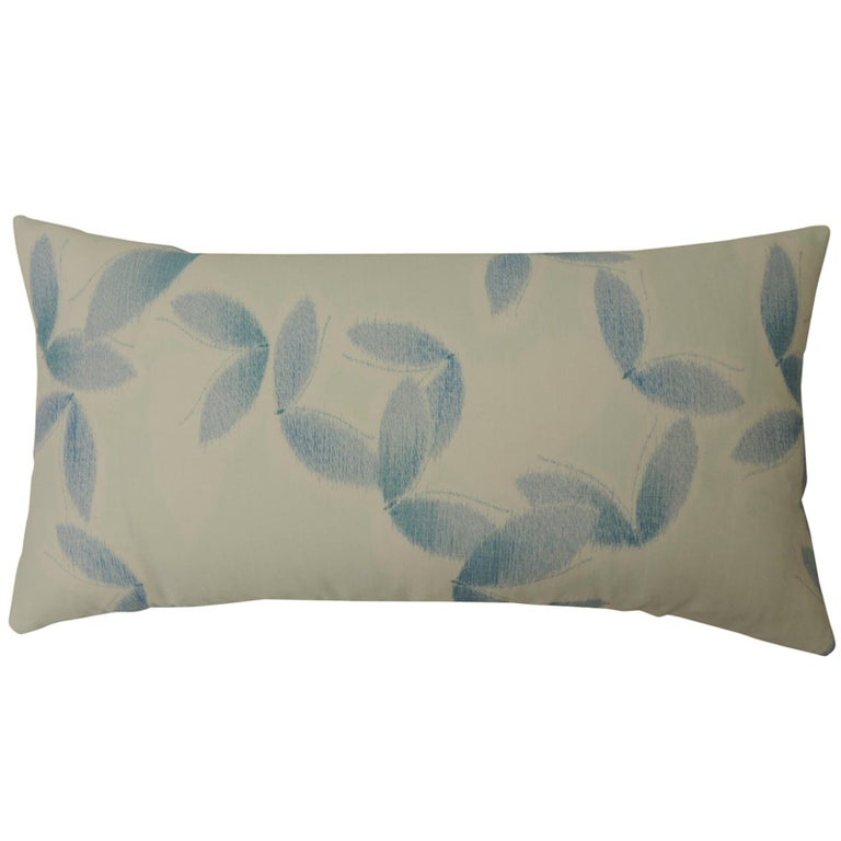 "Asian Blue and White ""Shiso"" Printed Decorative Bolster Pillow For Sale"