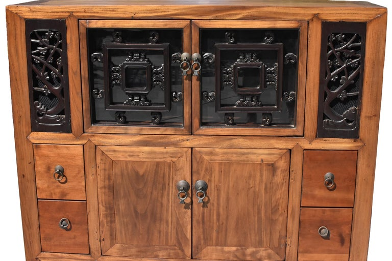 Hand-Carved Asian Book Cabinet with Carved Screens For Sale