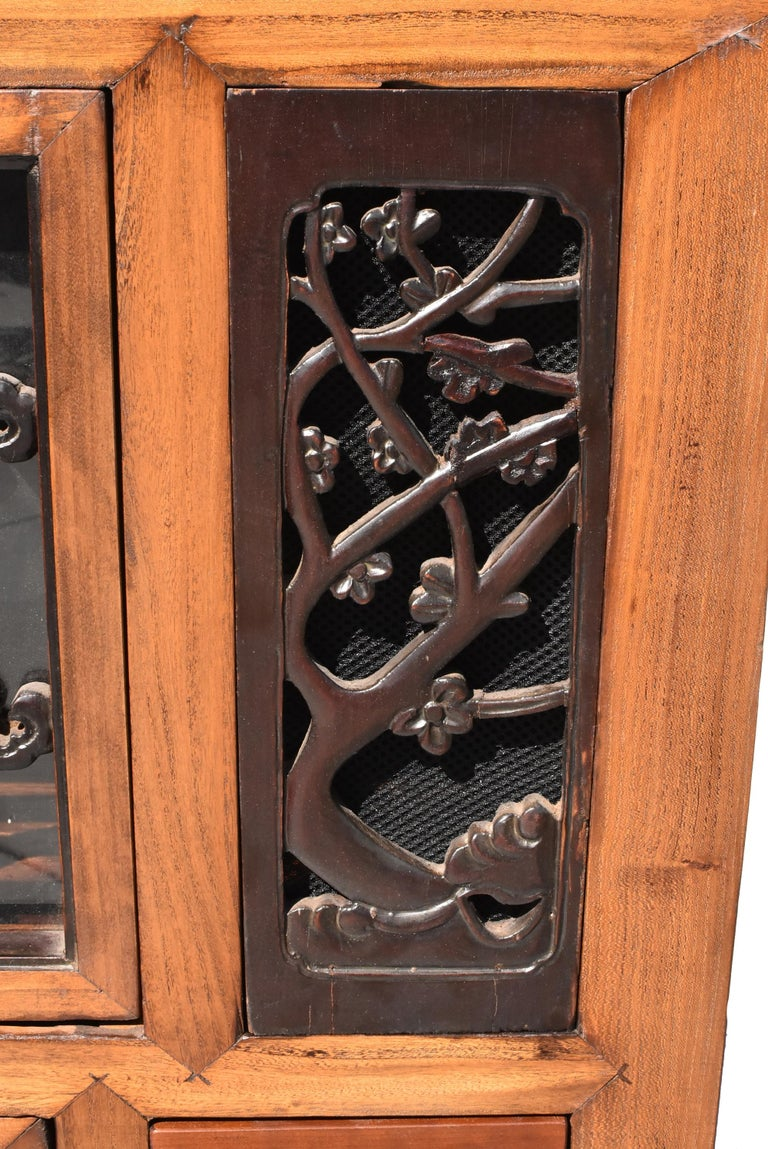 Asian Book Cabinet with Carved Screens For Sale 1