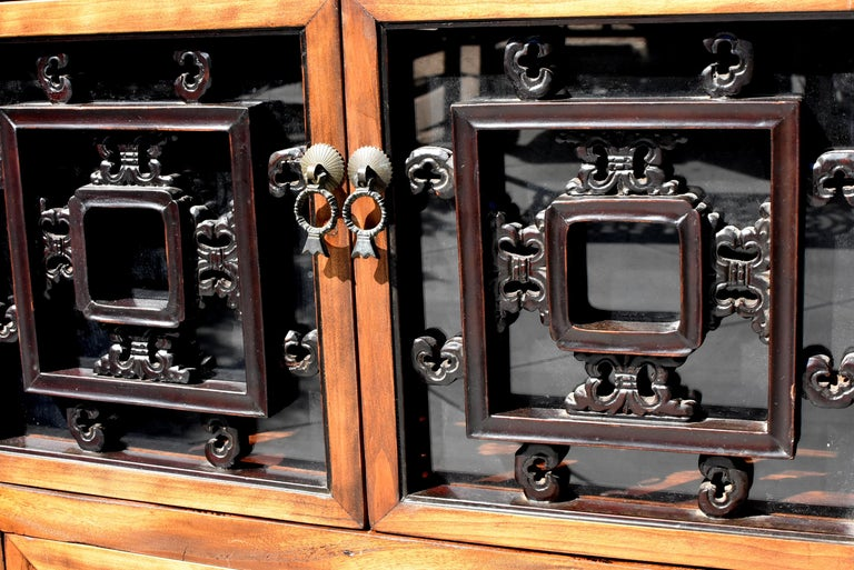 Asian Book Cabinet with Carved Screens For Sale 2
