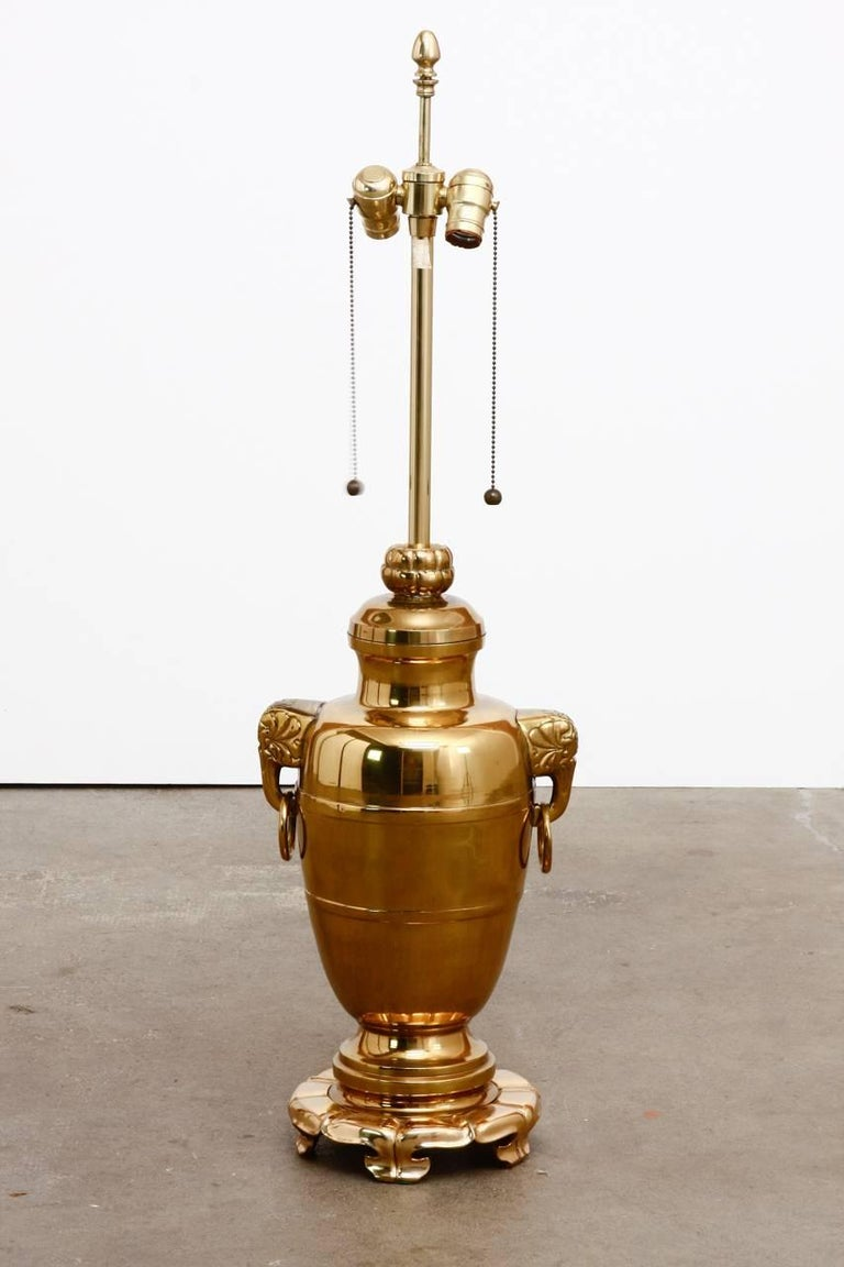 Hollywood Regency Asian Brass Elephant Head Urn Table Lamp by Marbro For Sale