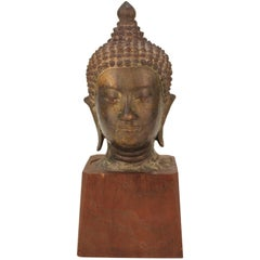 Asian Bronze Head of Shakyamuni Buddha on Wood Base