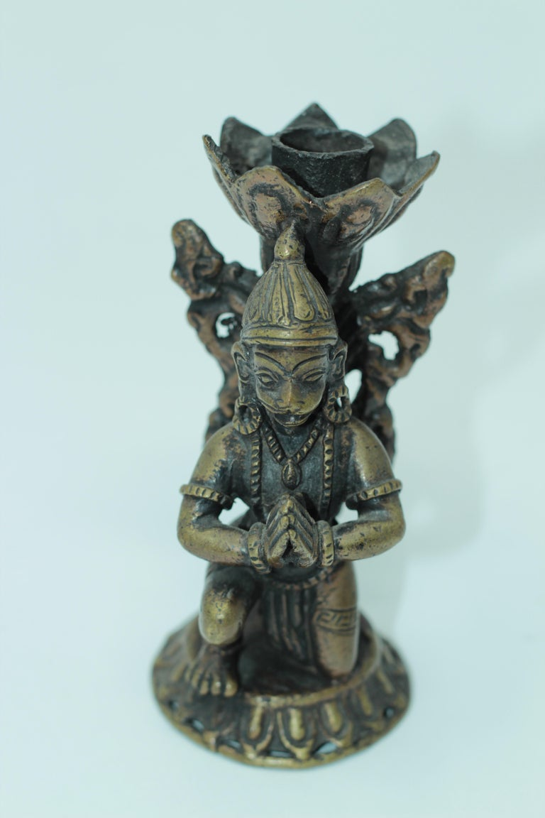 Asian Bronze Pair of Hanuman Kneeling Buddhist Figure Candleholders For Sale 3