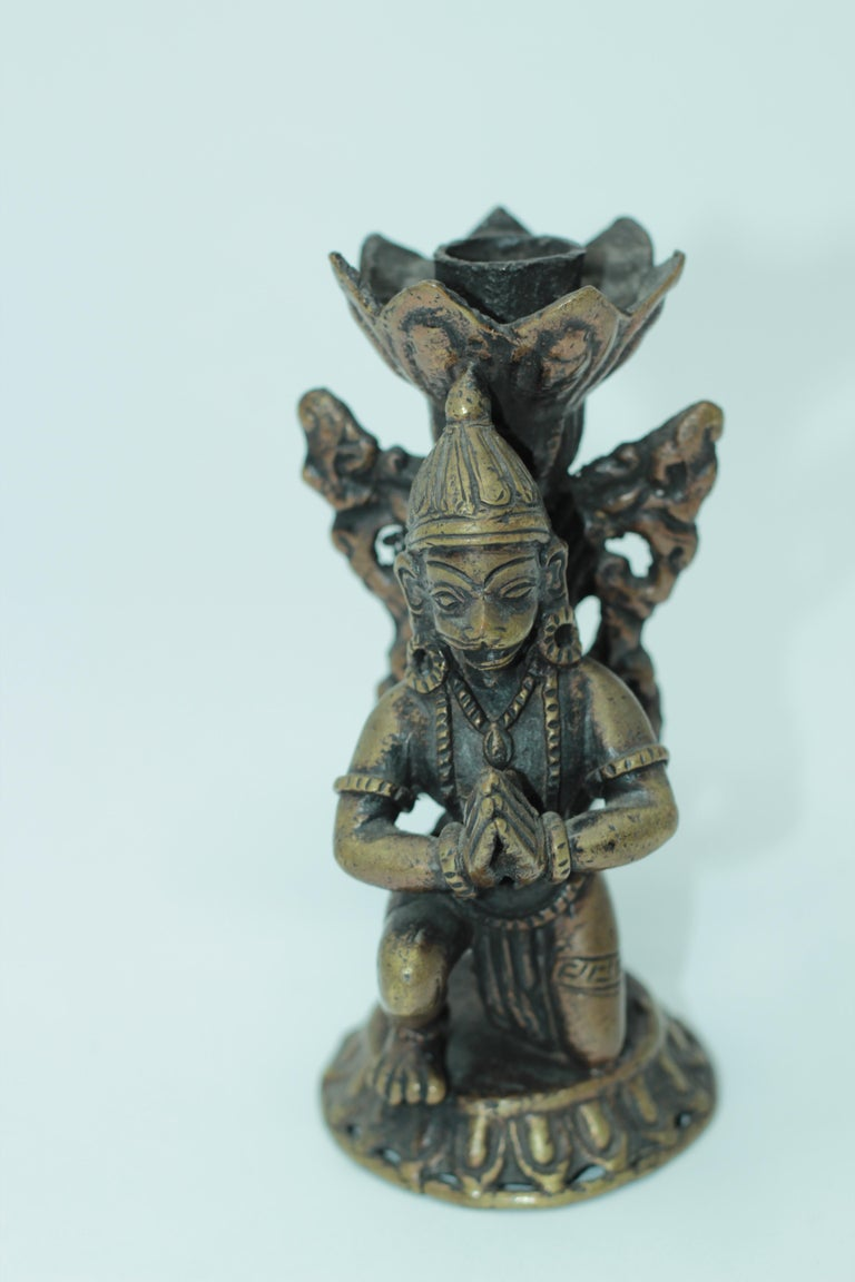 Asian Bronze Pair of Hanuman Kneeling Buddhist Figure Candleholders For Sale 5