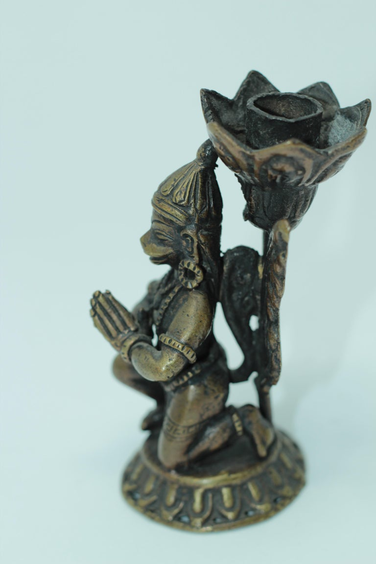 Asian Bronze Pair of Hanuman Kneeling Buddhist Figure Candleholders For Sale 7