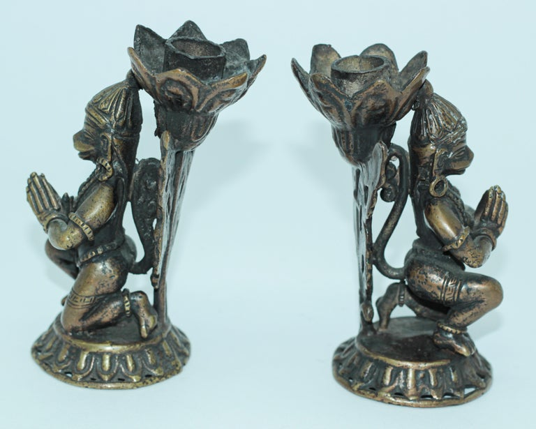 Indian Asian Bronze Pair of Hanuman Kneeling Buddhist Figure Candleholders For Sale