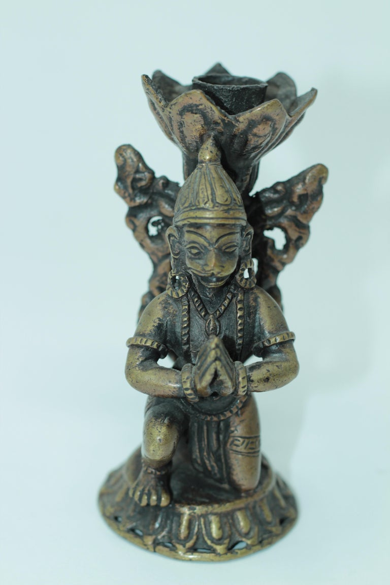 Asian Bronze Pair of Hanuman Kneeling Buddhist Figure Candleholders For Sale 2