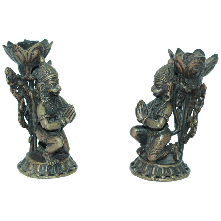 Asian Bronze Pair of Hanuman Kneeling Buddhist Figure Candleholders For Sale