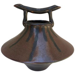 Asian Brown Ceramic Decorative Vase