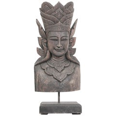 Asian Carved Wood Crowned Buddha Head, Nepal