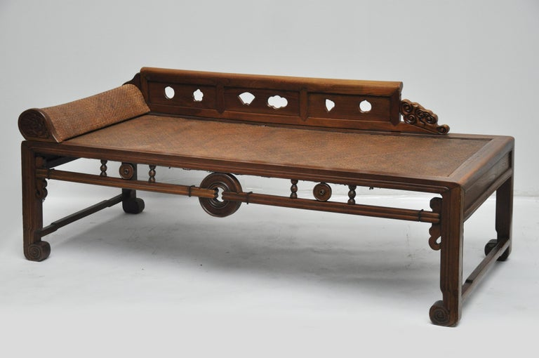 Asian Carved Wooden And Woven Daybed For Sale At 1stdibs