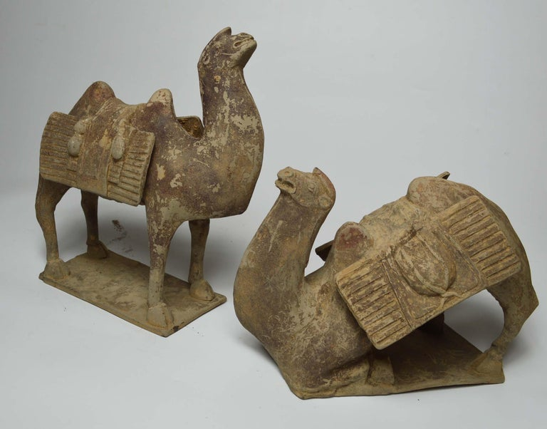 A rare pair of antique Chinese pottery figures of a Bactrian camels