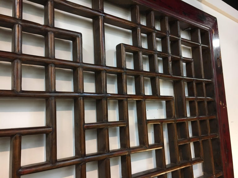 Asian Chinese Carved Mahogany Lattice Wall Sculpture Screen Panel Open Fretwork For Sale 6