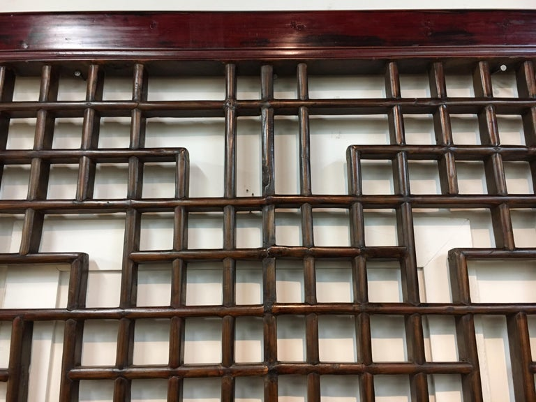 Asian Chinese Carved Mahogany Lattice Wall Sculpture Screen Panel Open Fretwork For Sale 8