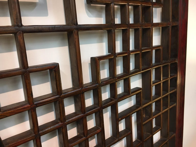 Asian Chinese Carved Mahogany Lattice Wall Sculpture Screen Panel Open Fretwork For Sale 9