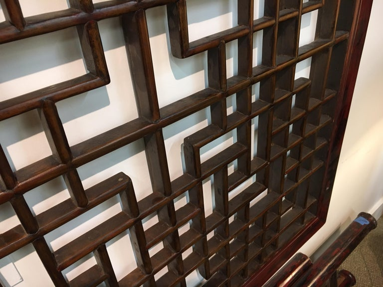 Asian Chinese Carved Mahogany Lattice Wall Sculpture Screen Panel Open Fretwork For Sale 10